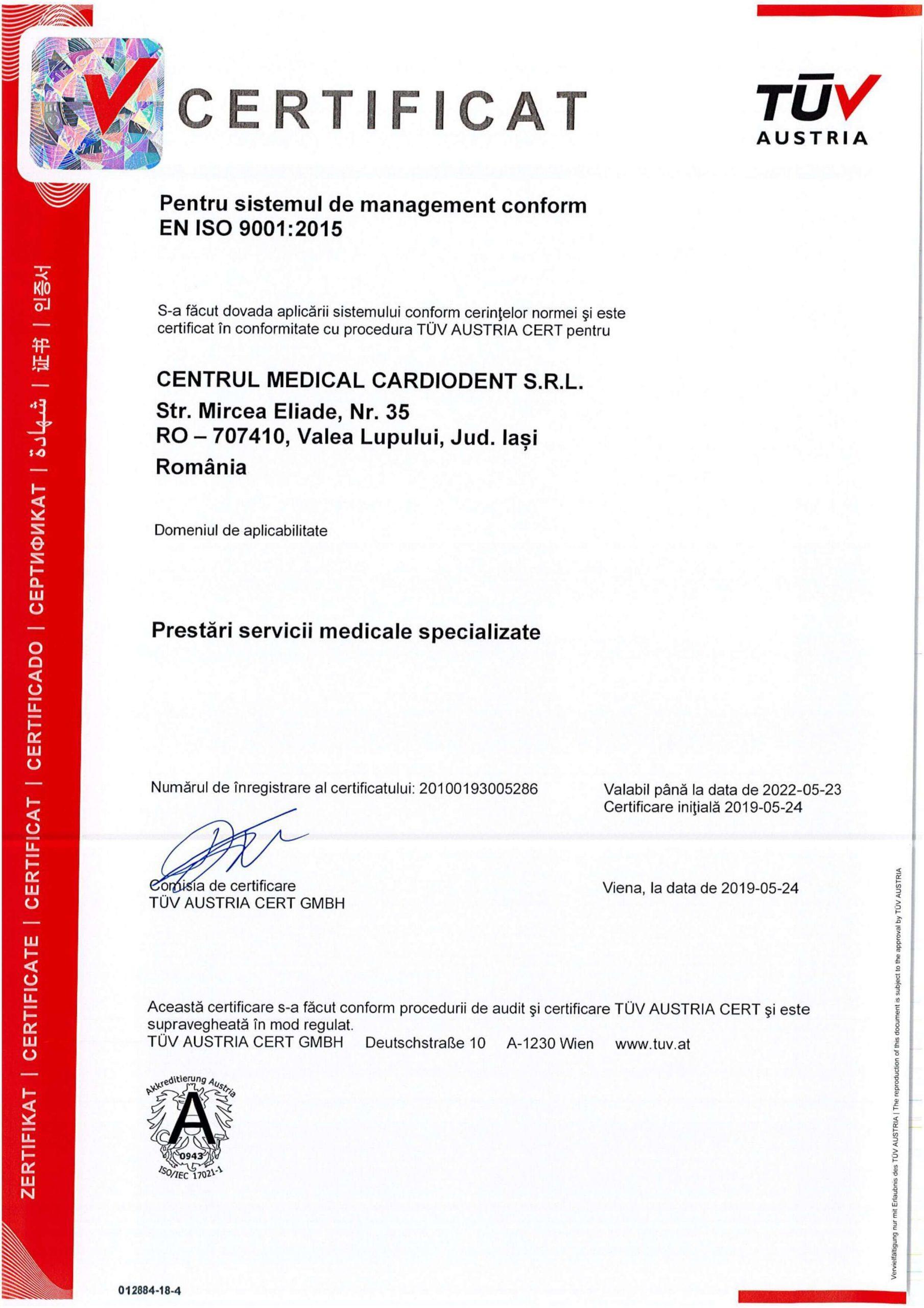 certificare-tuv-centru-medial-bredent-iasi